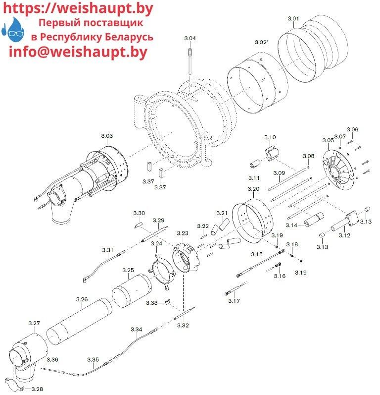 Схема запасных частей к газовой горелке Weishaupt WM-G50/1-A/ZM-NR (W-FM 100/200). Схема 3.
