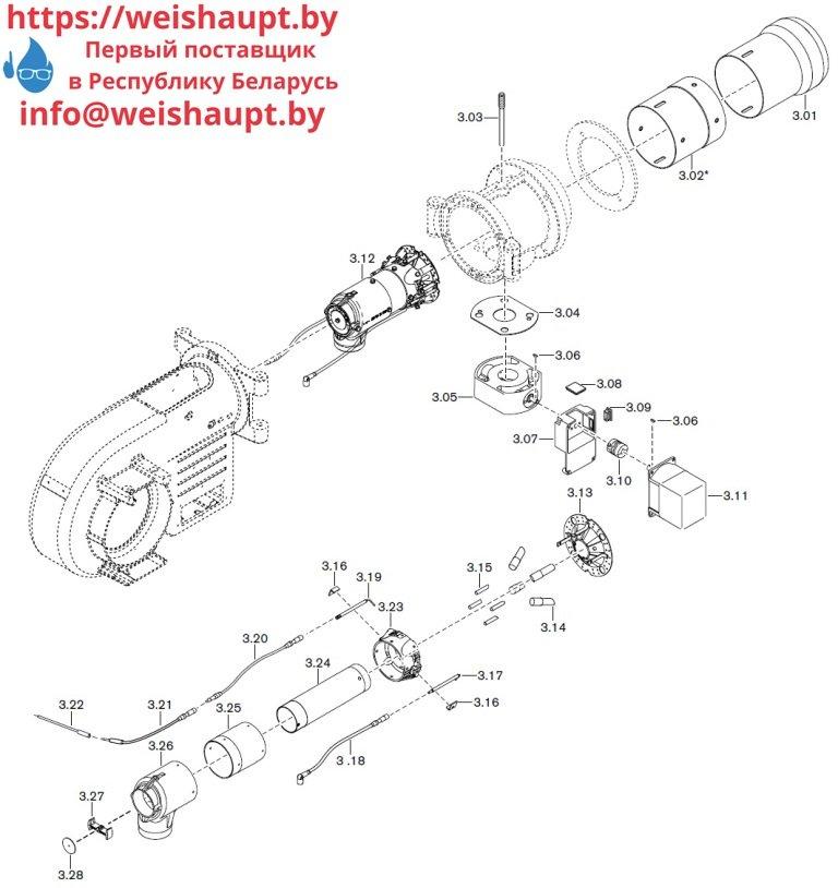 Запасные части к газовой горелке Weishaupt WM-G10/1-A/ZM (W-FM 50). Схема 3.