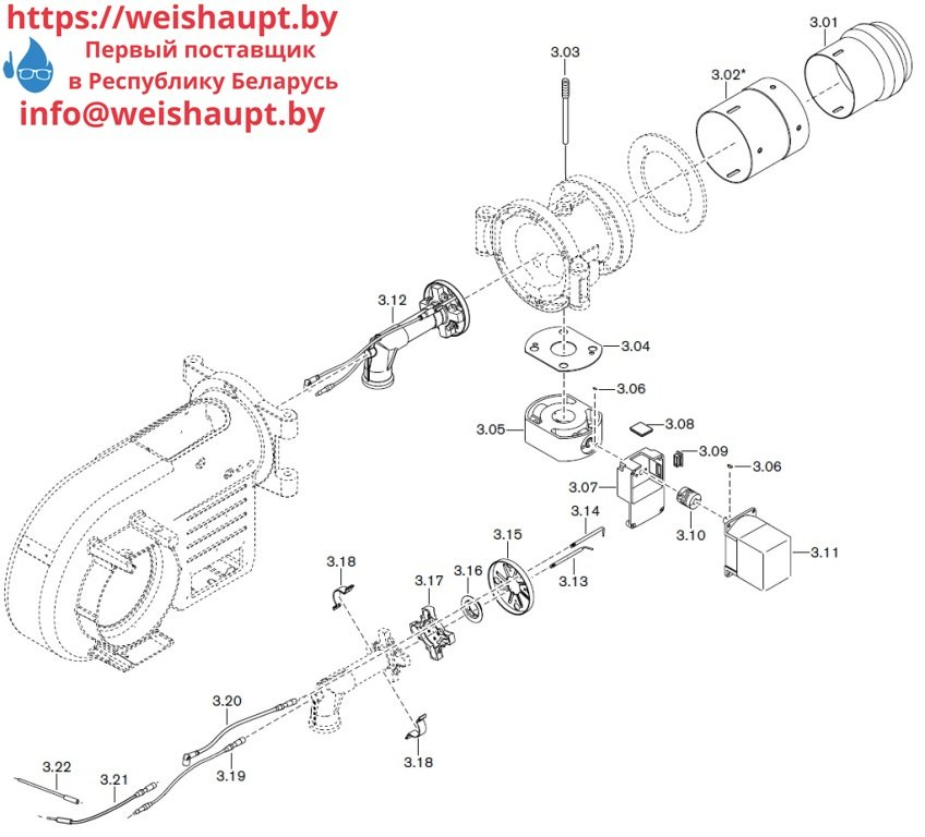 Запасные части к газовой горелке Weishaupt WM-G10/1-A/ZM-LN (W-FM 100/200). Схема 3.