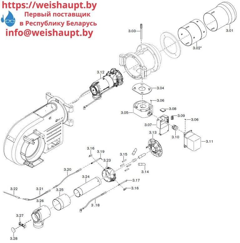 Запасные части к газовой горелке Weishaupt WM-G10/1-A/ZMI (W-FM 100/200). Схема 3.