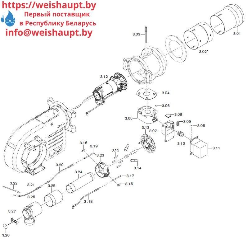 Запасные части к газовой горелке Weishaupt WM-G10/2-A/ZM (W-FM 50). Схема 3.
