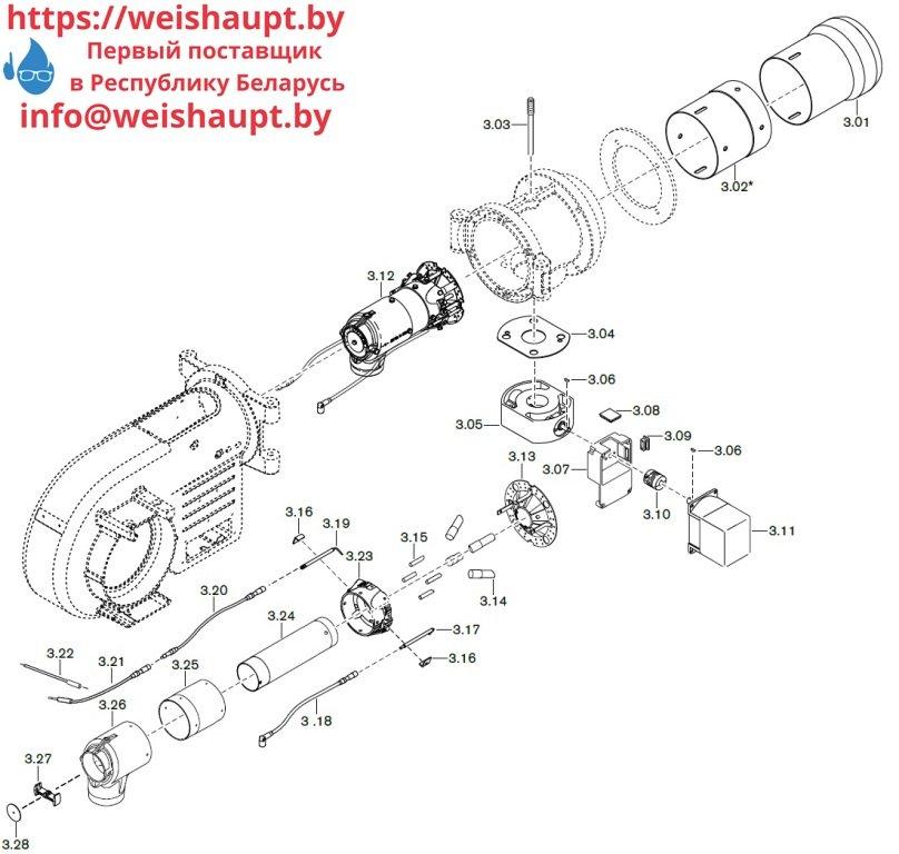 Запасные части к газовой горелке Weishaupt WM-G10/4-A/ZMI (W-FM 100/200). Схема 3.