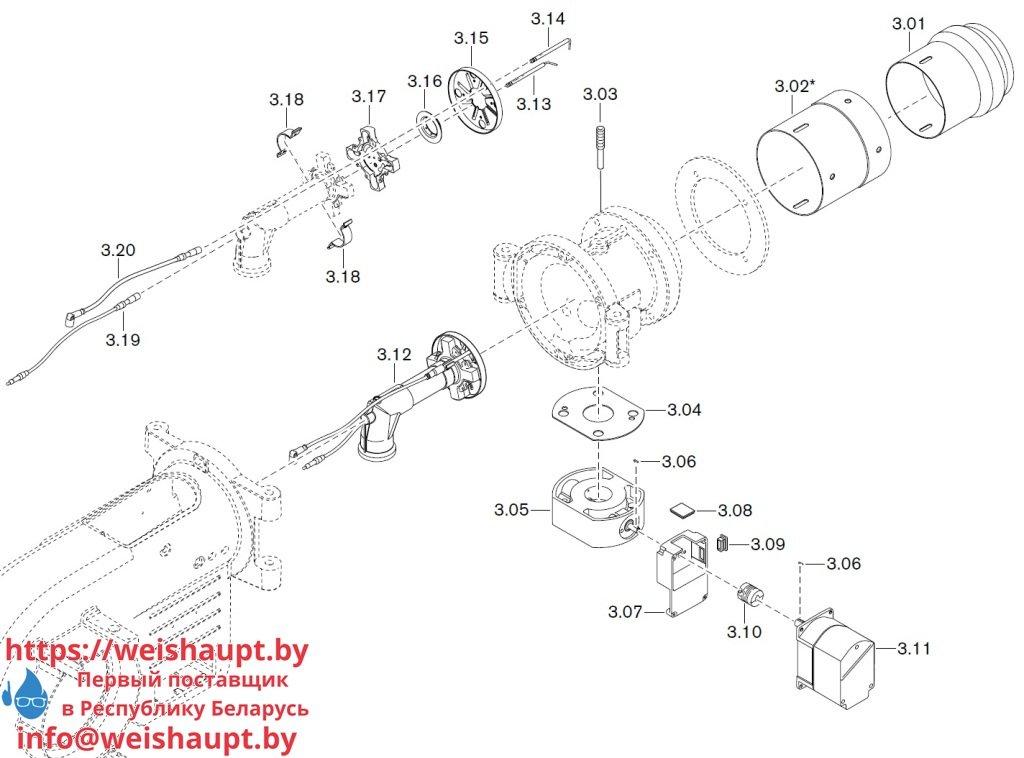 Запасные части к газовой горелке Weishaupt WM-G10/2-A/ZM-LN (W-FM 100/200). Схема 3.