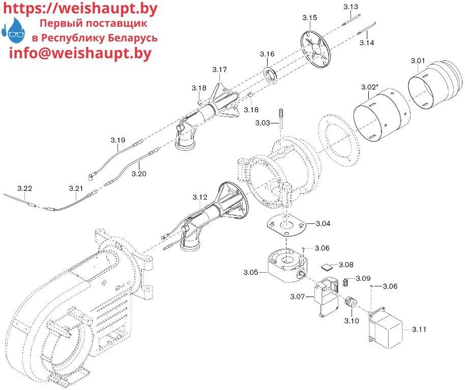 Запасные части к газовой горелке Weishaupt WM-G10/3-A/ZM-LN (W-FM 50). Схема 3.