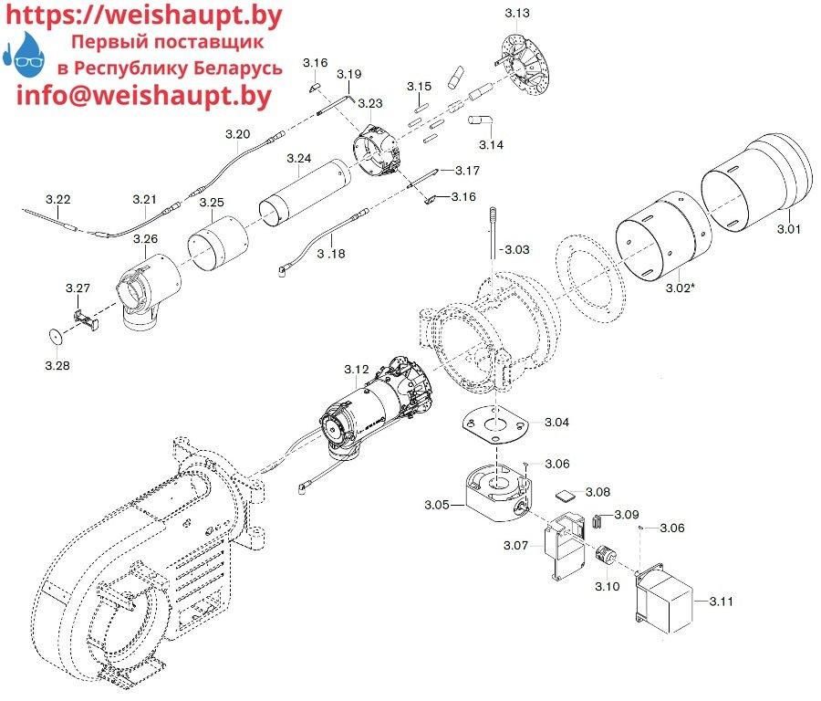 Запасные части к газовой горелке Weishaupt WM-G10/3-A/ZMI (W-FM 100/200). Схема 3.