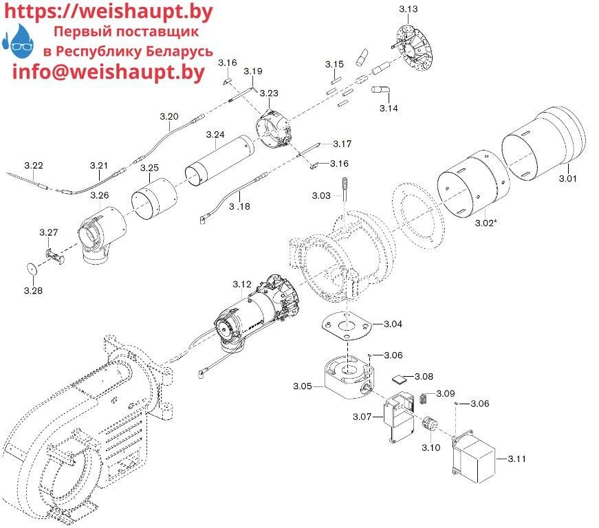 Запасные части к газовой горелке Weishaupt WM-G10/4-A/ZM (W-FM 50). Схема 3.