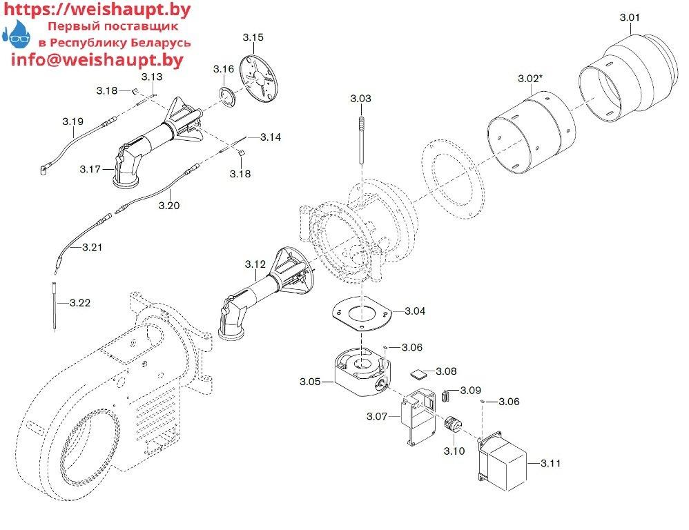Запасные части к газовой горелке Weishaupt WM-G20/2-A/ZM-LN (W-FM 100/200). Схема 3.
