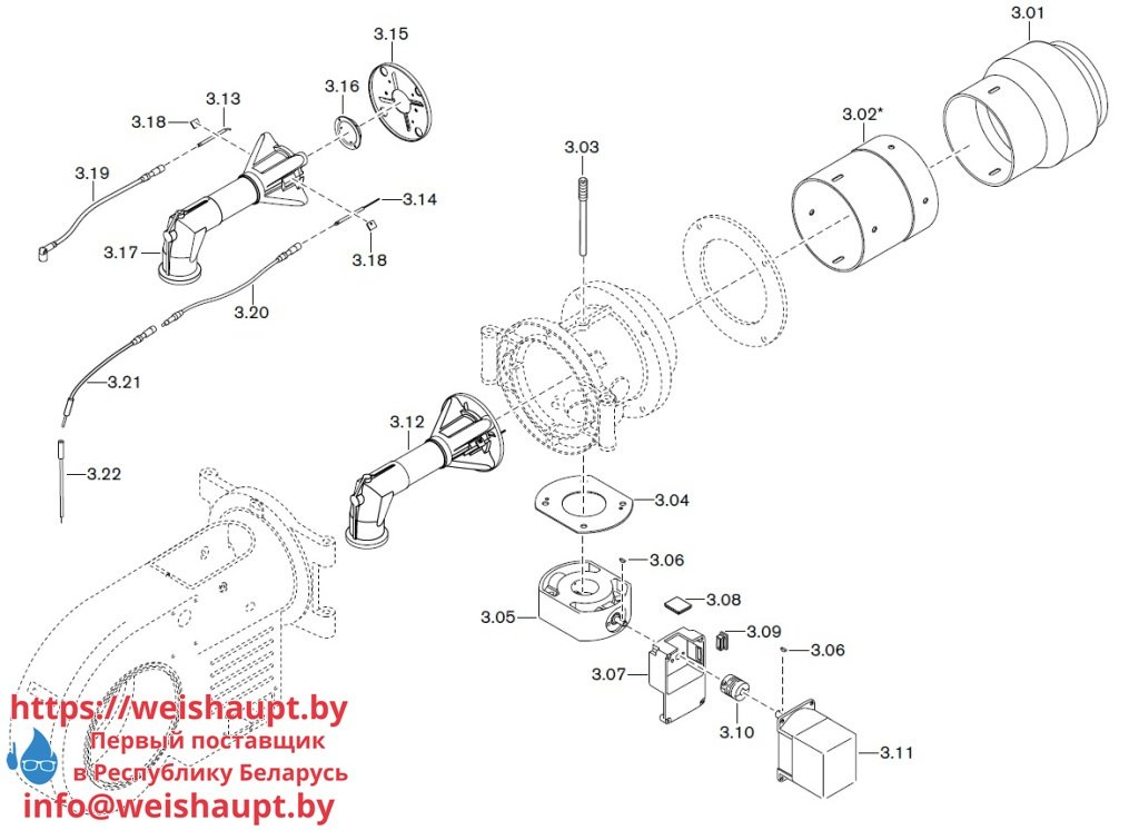 Запасные части к газовой горелке Weishaupt WM-G20/2-A/ZM-LN (W-FM 50). Схема 3.