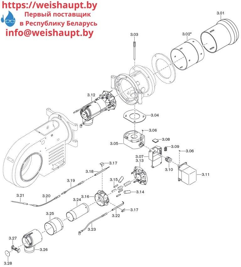 Запасные части к газовой горелке Weishaupt WM-G20/2-A/ZM (W-FM 50). Схема 3.
