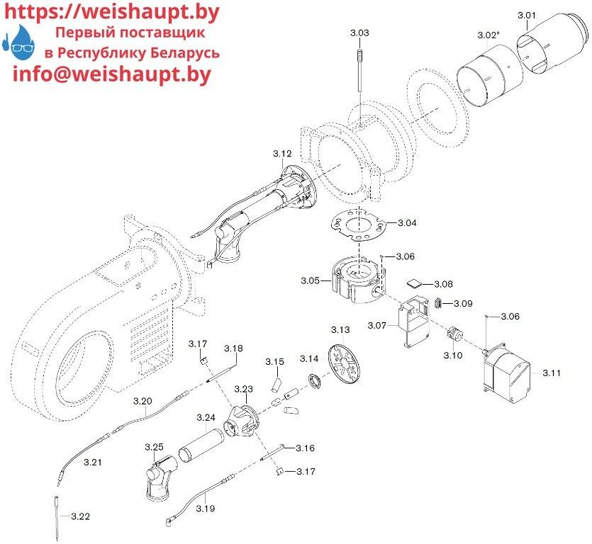 Запасные части к газовой горелке Weishaupt WM-G30/1-A/ZM-LN (W-FM 100/200). Схема 3.