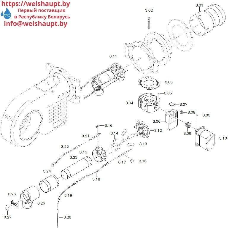 Запасные части к газовой горелке Weishaupt WM-G30/1-A/ZM (W-FM 100/200). Схема 3.
