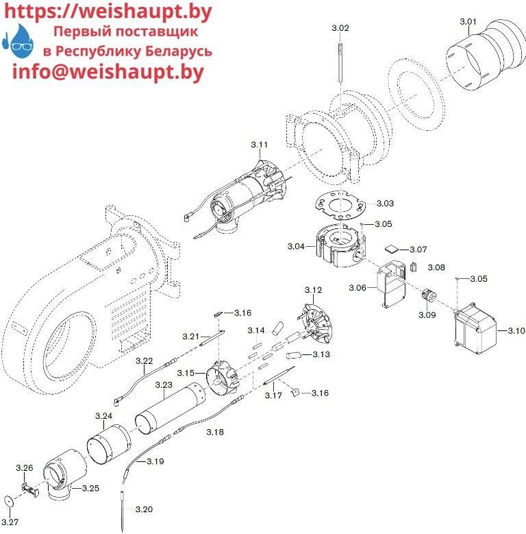 Запасные части к газовой горелке Weishaupt WM-G30/2-A/ZM (W-FM 50). Схема 3.