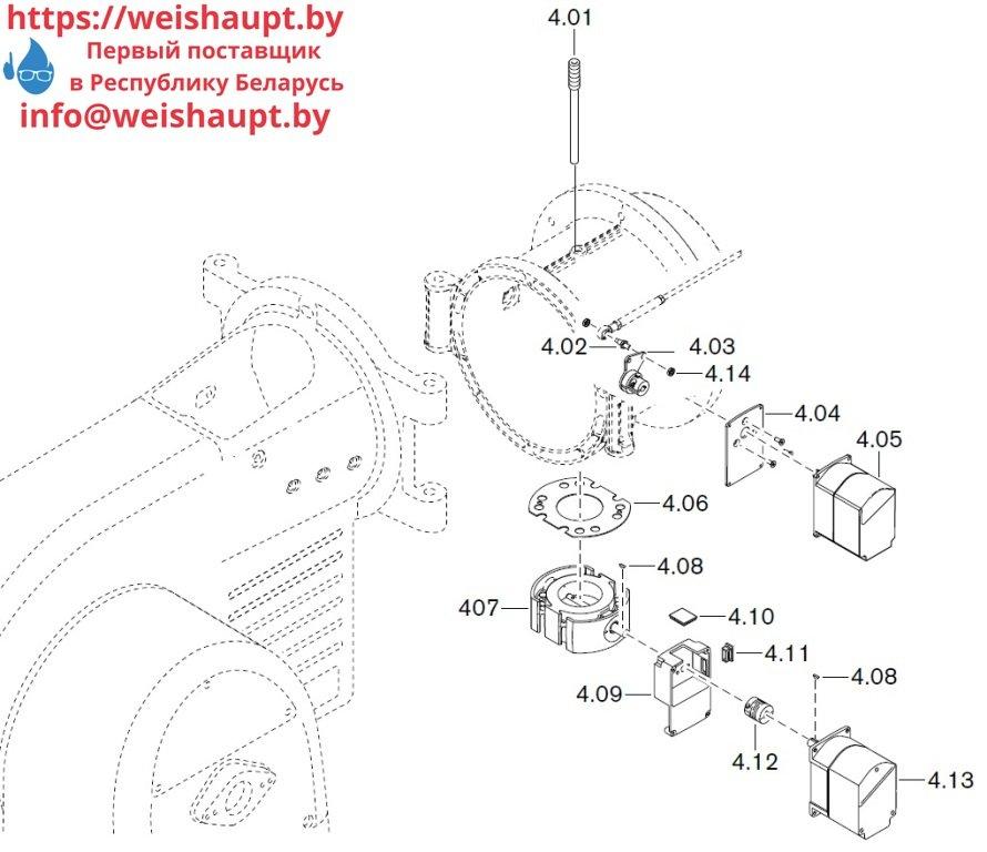 Запасные части к газовой горелке Weishaupt WM-G30/3-A/ZM-3LN (W-FM 200). Схема 4.