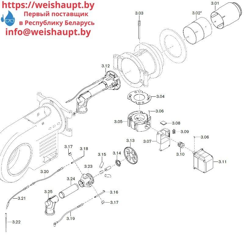 Запасные части к газовой горелке Weishaupt WM-G30/3-A/ZM-LN (W-FM 50). Схема 3.