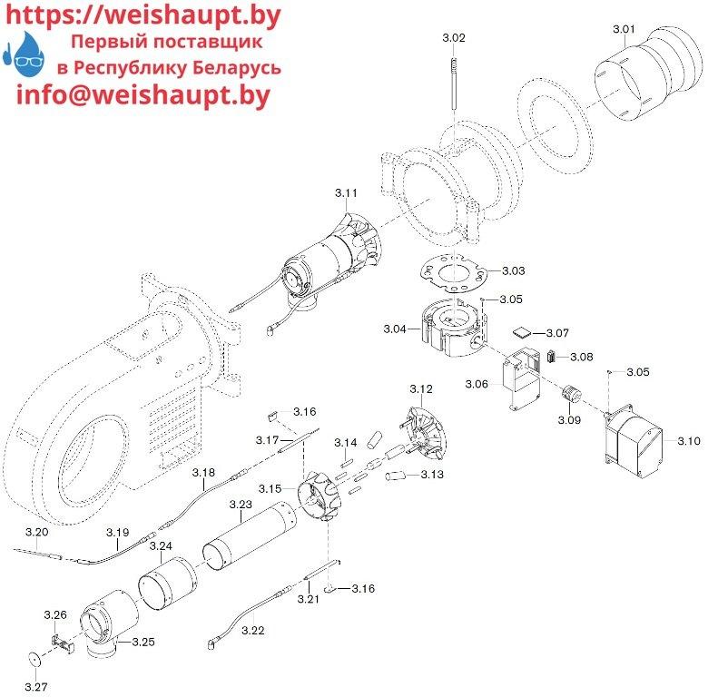 Запасные части к газовой горелке Weishaupt WM-G30/3-A/ZM (W-FM 100/200). Схема 3.