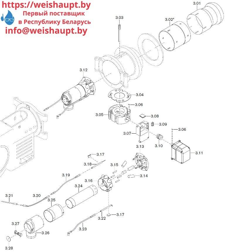 Запасные части к газовой горелке Weishaupt WM-G30/4-A/ZM (W-FM 50). Схема 3.