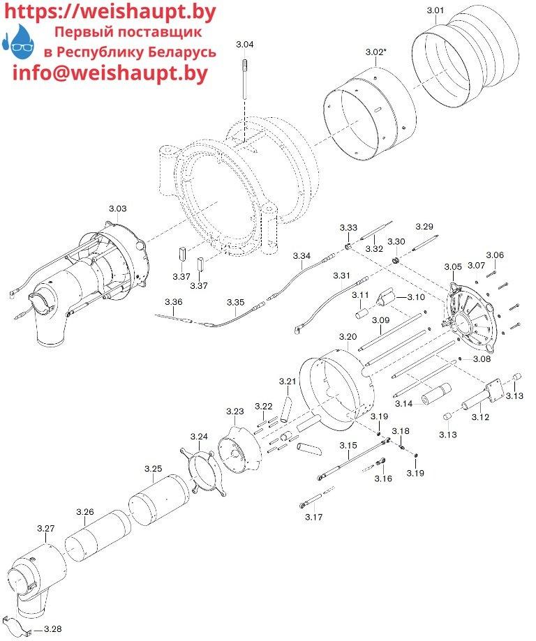 Запасные части к газовой горелке Weishaupt WM-G50/2-A/ZM-NR (W-FM 100/200) Схема 3.