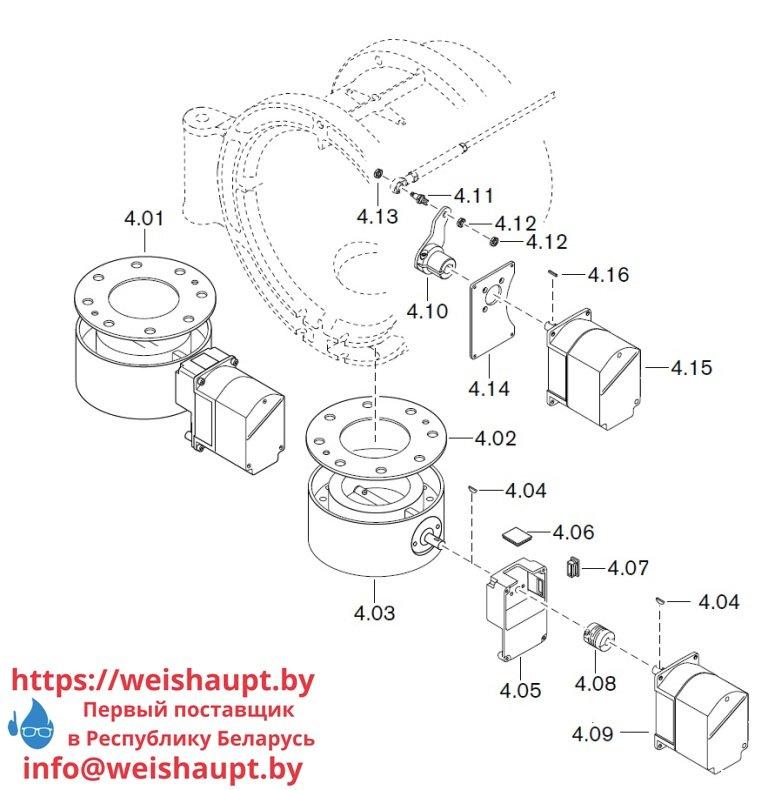 Запасные части к газовой горелке Weishaupt WM-G50/2-A/ZM-NR (W-FM 100/200). Схема 4.