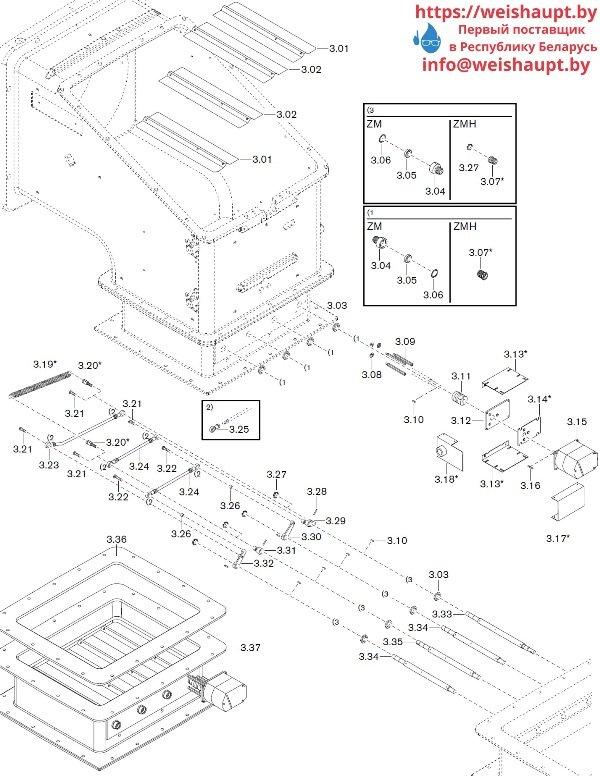 Запчасти к газовым горелочным устройствам Weishaupt WKG 70/1-B ZM(H)-NR (W-FM 100/200). Схема 3.