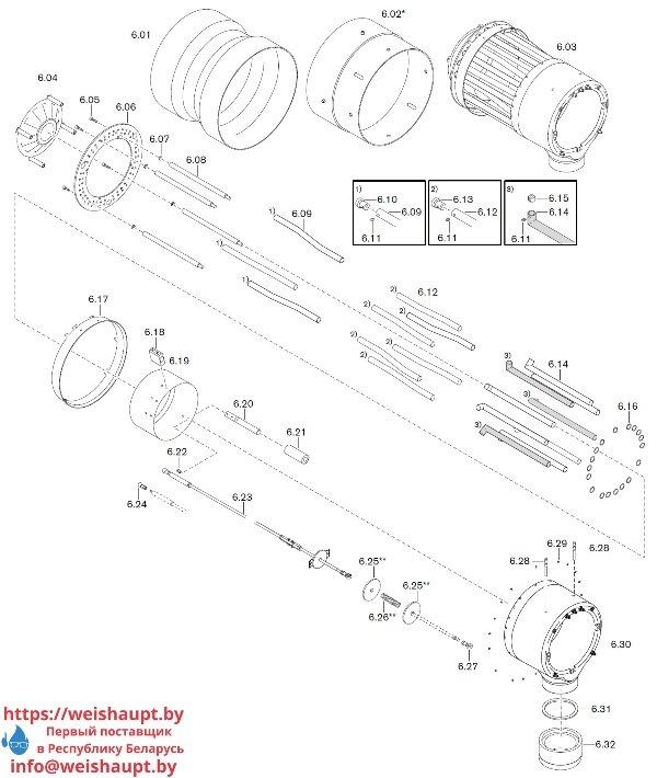 Запчасти к газовым горелочным устройствам Weishaupt WKG 70/1-B ZM(H)-NR (W-FM 100/200). Схема 6.