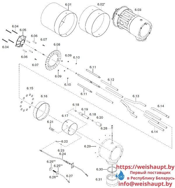 Запчасти к газовым горелочным устройствам Weishaupt WKG40/2-A ZM(H) (W-FM 100/200). Схема 6.