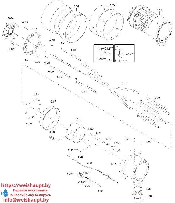 Запчасти к газовым горелочным устройствам Weishaupt WKG50/2-A ZM(H) (W-FM 100/200). Схема 6.