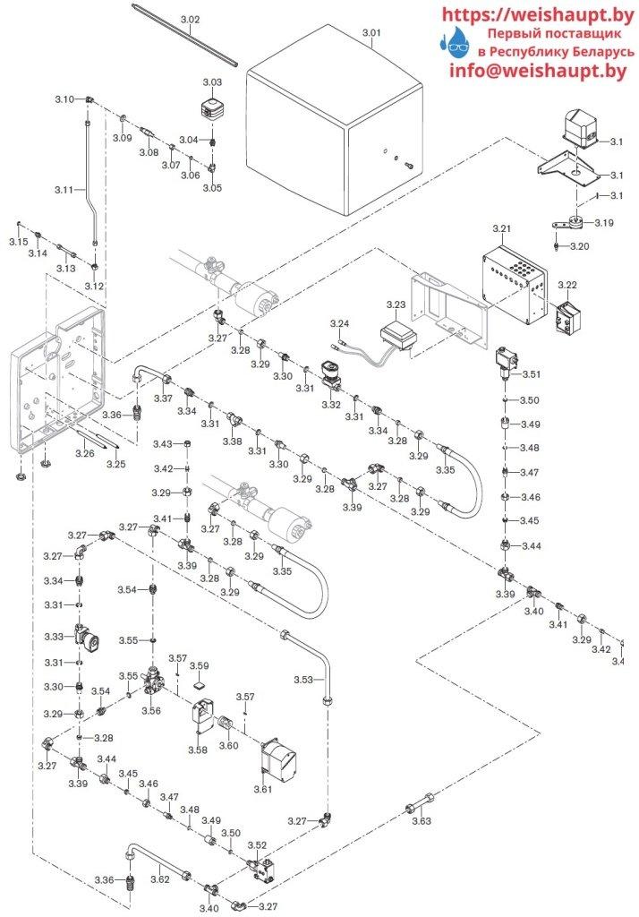 Запчасти к жидкотопливным горелочным устройствам Weishaupt WKL70/3-A. Схема 3.