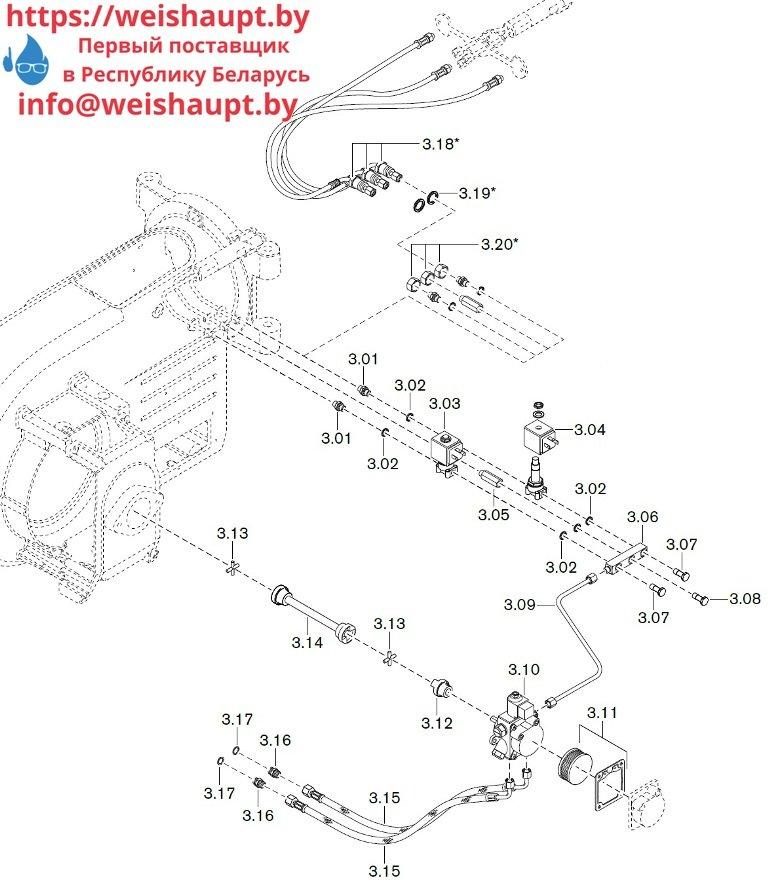 Запчасти к жидкотопливным горелочным устройствам Weishaupt WM-L10/1-A/T (W-FM 50). Схема 3.