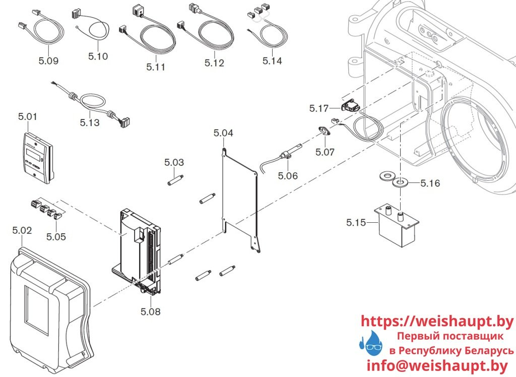 Запчасти к жидкотопливным горелочным устройствам Weishaupt WM-L10/4-A/T (W-FM 50). Схема 5.