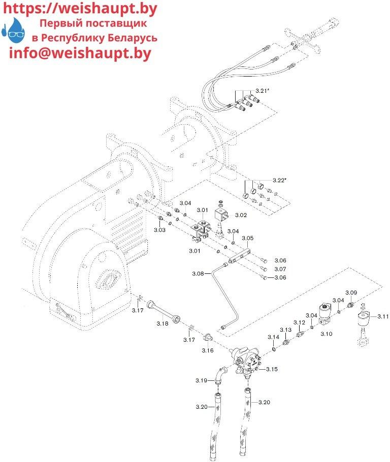 Запчасти к жидкотопливным горелочным устройствам Weishaupt WM-L20/1-A/T (W-FM 50). Схема 3.