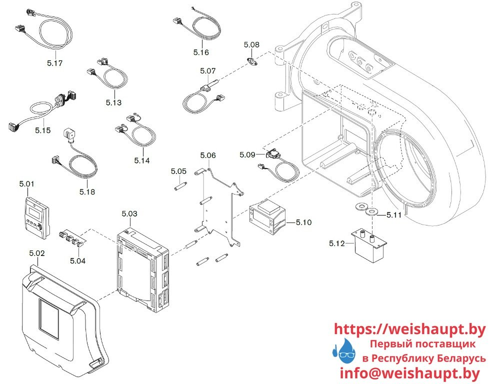 Запчасти к жидкотопливным горелочным устройствам Weishaupt WM-L20/2-A/R (W-FM 100/200). Схема 5.