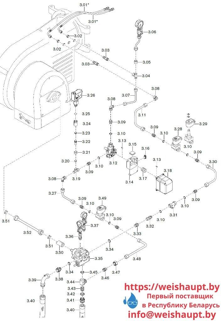 Запчасти к жидкотопливным горелочным устройствам Weishaupt WM-L30/3-A/R (W-FM 50). Схема 3.