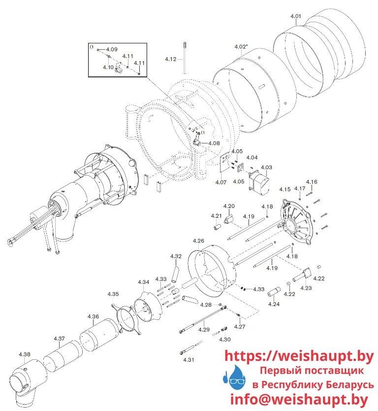 Запчасти к жидкотопливным горелочным устройствам Weishaupt WM-L50/2-A/R (W-FM100/200). Схема 4.