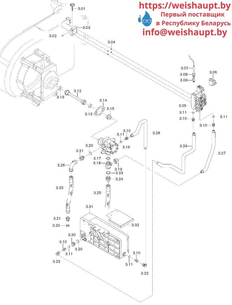 Запчасти к жидкотопливным горелочным устройствам Weishaupt WM-S10/3-A/T (W-FM 50). Схема 3.