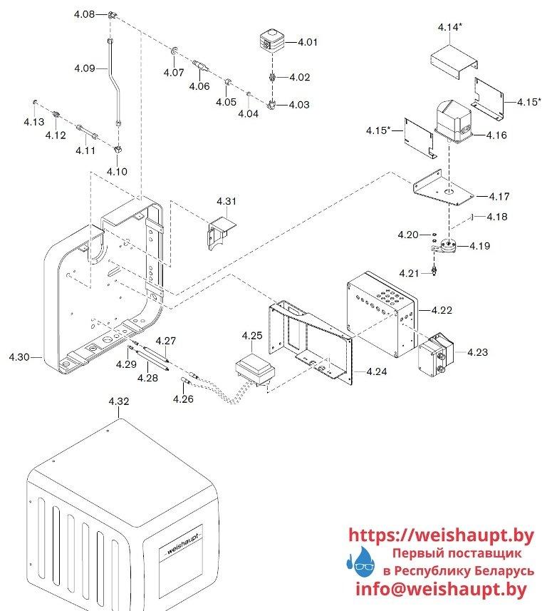 Запасные части к комбинированной горелке Weishaupt WKGL 70/1-B ZM(H) (W-FM 100/200). Схема 4.