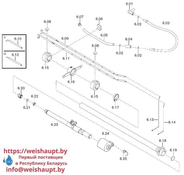 Запасные части к комбинированной горелке Weishaupt WKGL 70/1-B ZM(H) (W-FM 100/200). Схема 6.