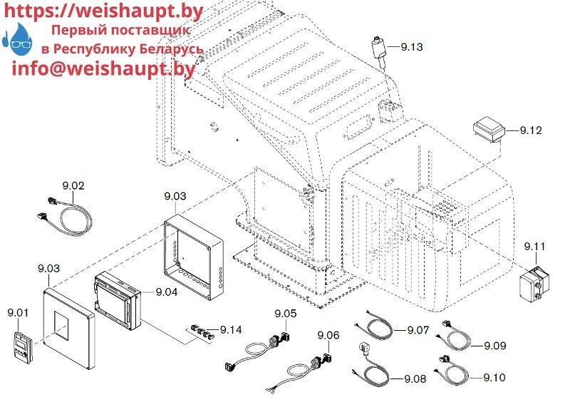 Запасные части к комбинированной горелке Weishaupt WKGL 70/1-B ZM(H) (W-FM 100/200). Схема 9.