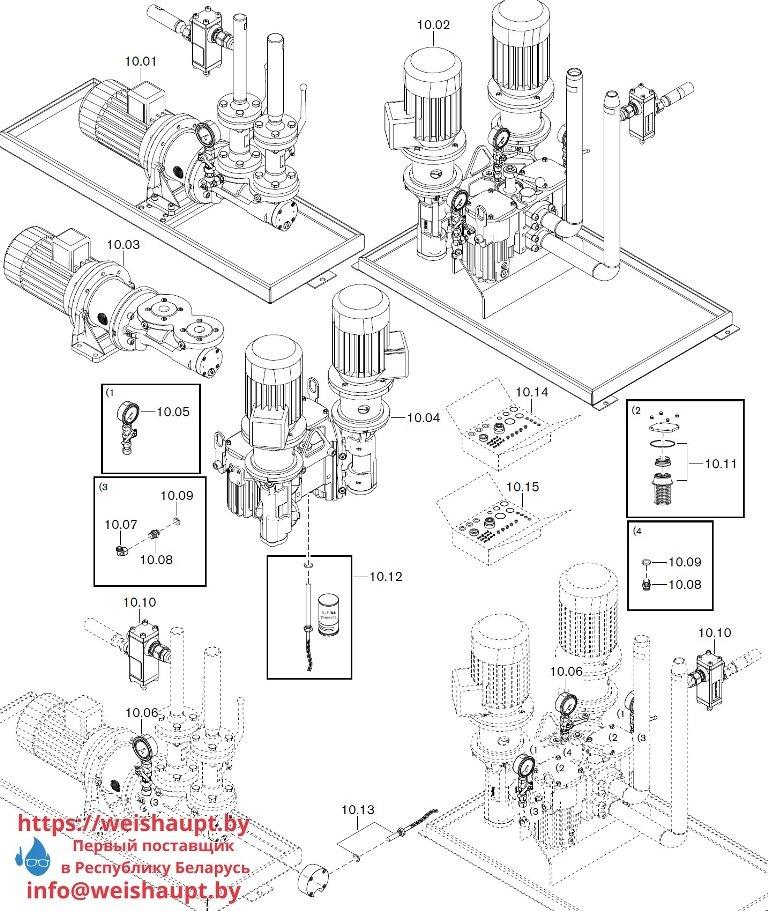 Запасные части к комбинированной горелке Weishaupt WKGMS 80/3-A ZM(H)-1SF (W-FM 100/200). Схема 10.