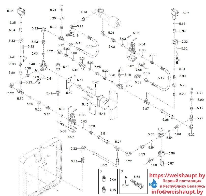 Запасные части к комбинированной горелке Weishaupt WKGMS 80/3-A ZM(H)-NR (W-FM 100/200). Схема 5.