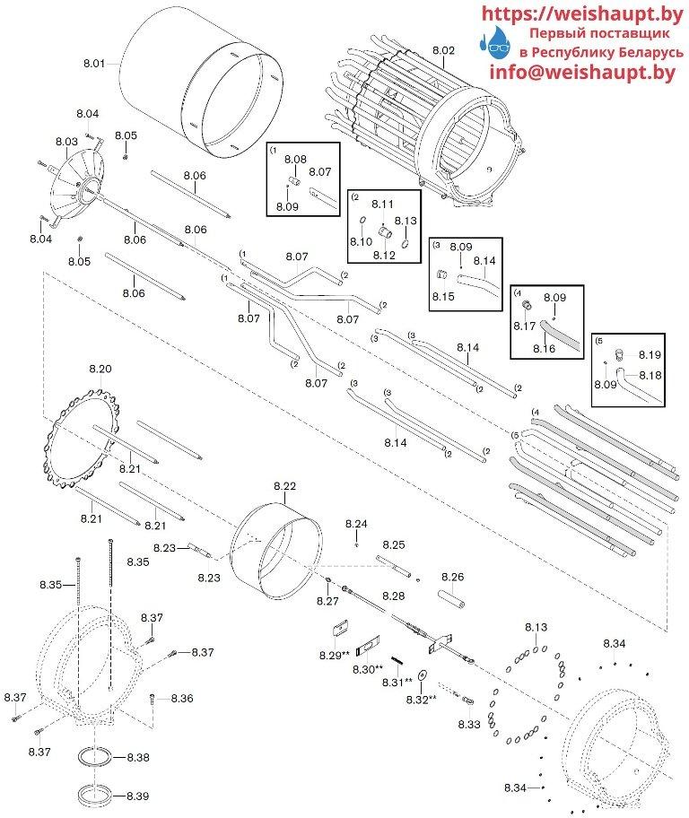 Запасные части к комбинированной горелке Weishaupt WKGMS 80/3-A ZM(H)-NR (W-FM 100/200). Схема 8.