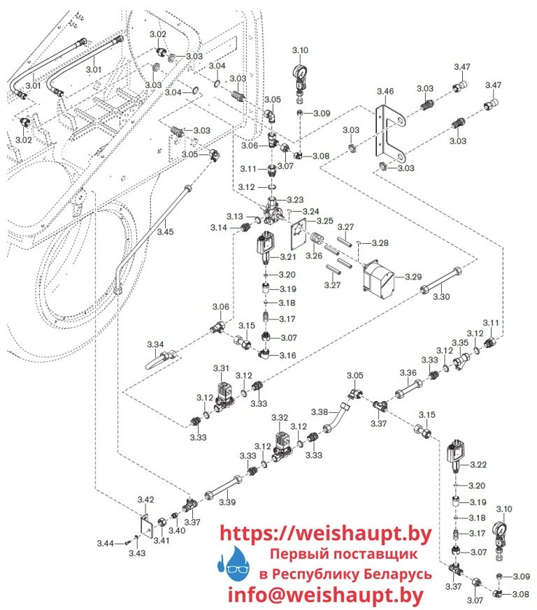 Запасные части к комбинированной горелке Weishaupt WKmono-GL80/1-A/ZM-R-NR. Схема 3.