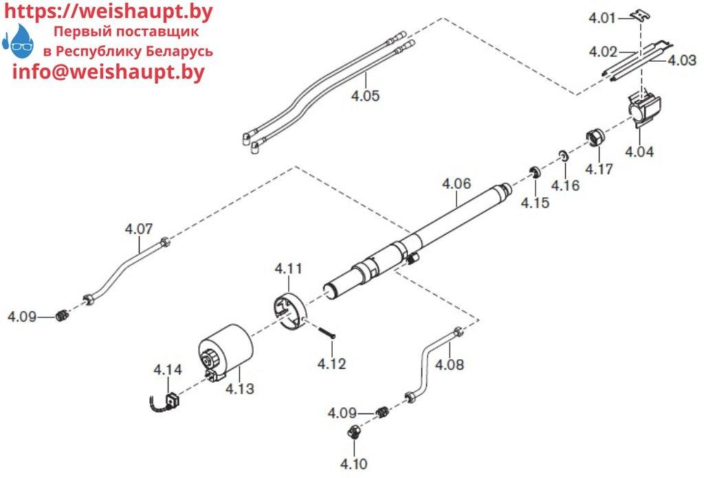 Запасные части к комбинированной горелке Weishaupt WKmono-GL80/1-A/ZM-R-NR. Схема 4.