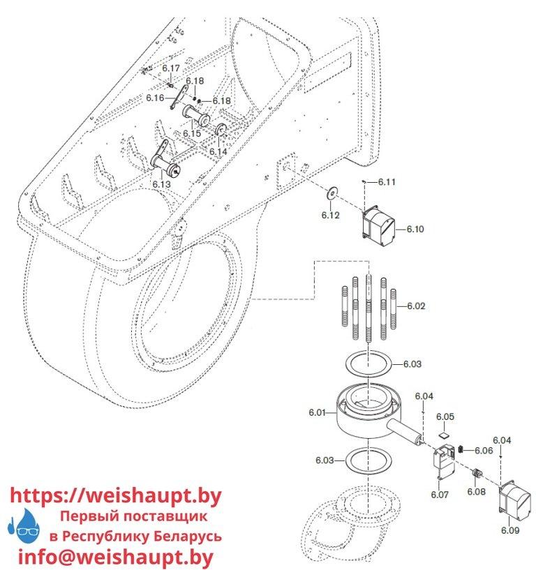 Запасные части к комбинированной горелке Weishaupt WKmono-GL80/1-A/ZM-R-NR. Схема 6.