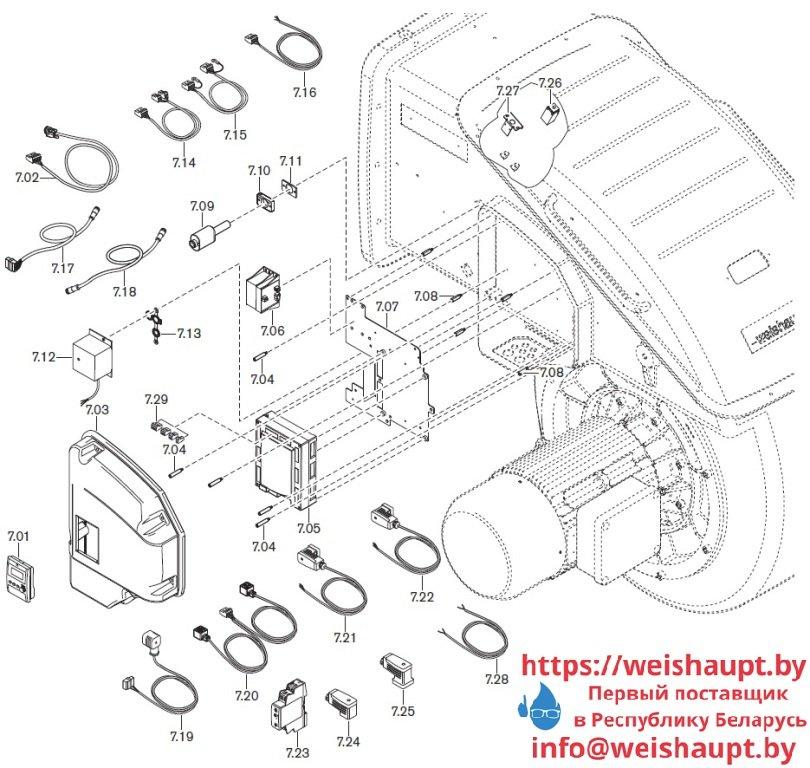 Запасные части к комбинированной горелке Weishaupt WKmono-GL80/1-A/ZM-R-NR. Схема 7.