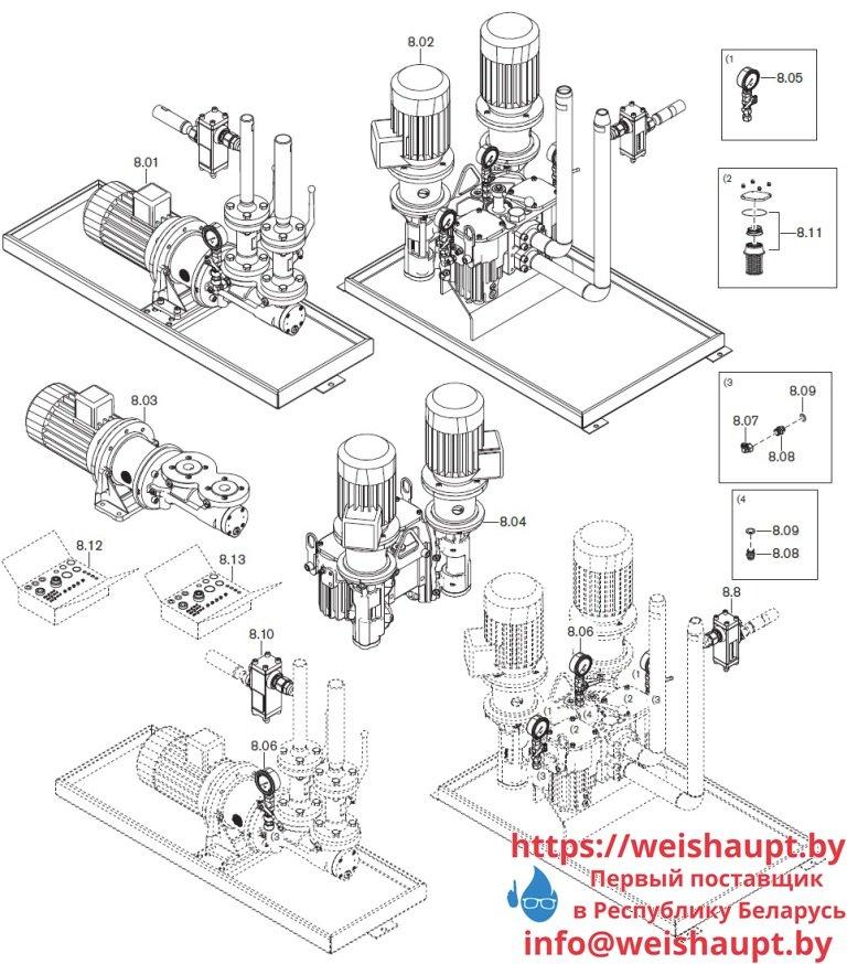 Запасные части к комбинированной горелке Weishaupt WKmono-GL80/1-A/ZM-R-NR. Схема 8.