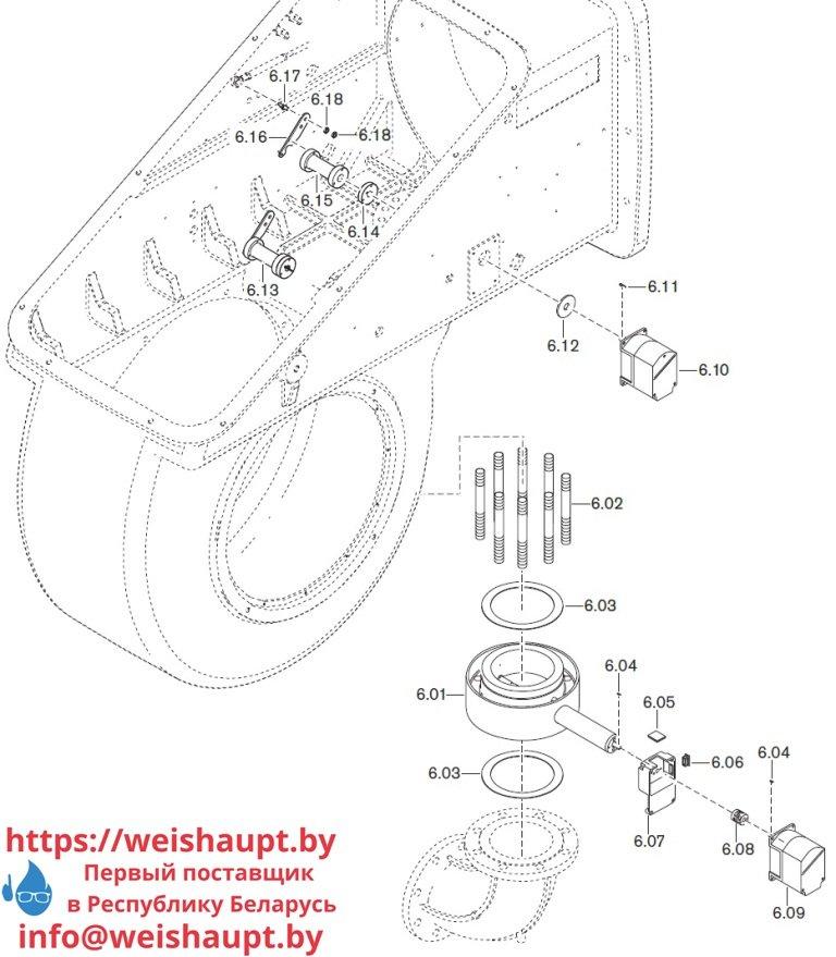 Запасные части к комбинированной горелке Weishaupt WKmono-GL80/2-A/ZM-R-NR. Схема 6.