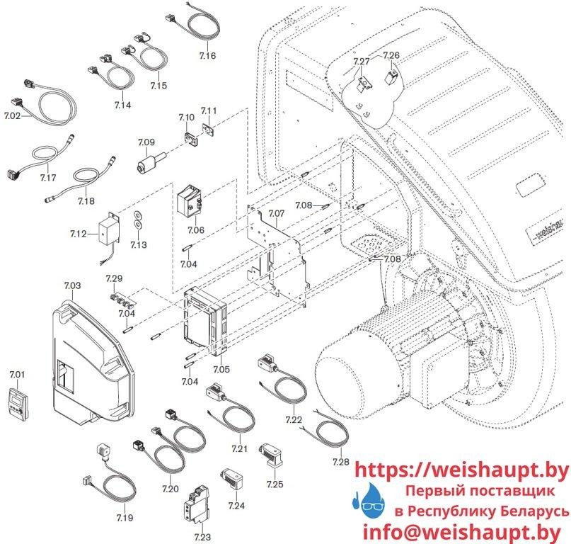 Запасные части к комбинированной горелке Weishaupt WKmono-GL80/2-A/ZM-R-NR. Схема 7.