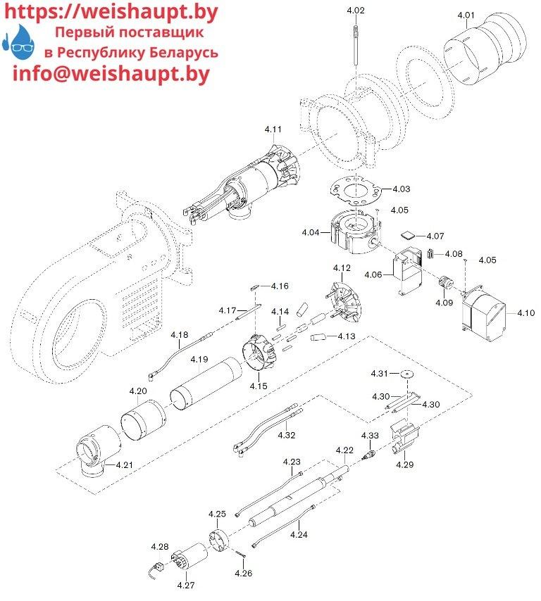 Запасные части к комбинированной горелке Weishaupt WM-GL30/1-A/ZM-R (W-FM 100/200). Схема 4.