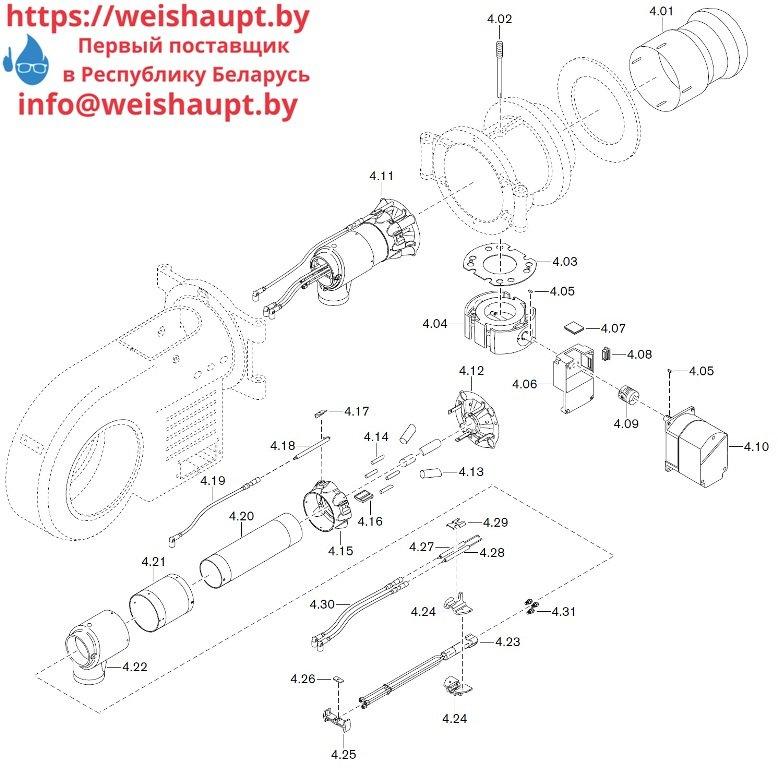 Запасные части к комбинированной горелке Weishaupt WM-GL30/2-A/ZM-T (W-FM 100/200). Схема 4.