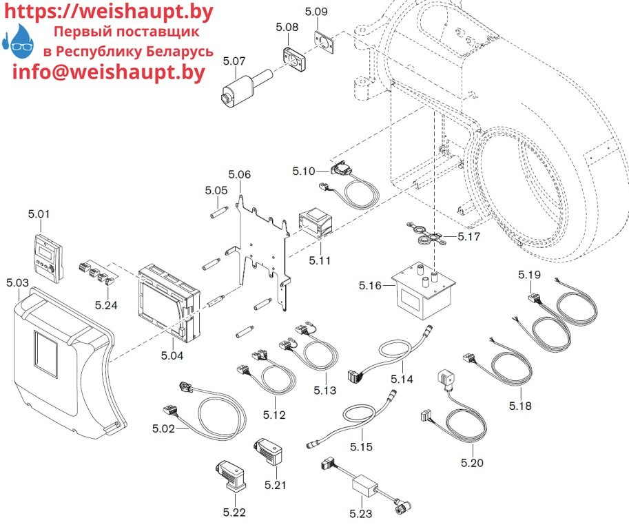 Запасные части к комбинированной горелке Weishaupt WM-GL30/3-A/ZM-R (W-FM 100/200) 6